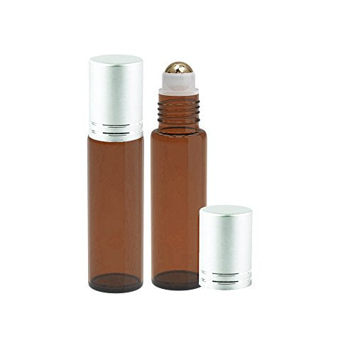 Perfume Studio Amber Glass Roller Bottle with Metal Ball - 10ml Roll-Ons with Silver Cap for Essential Oils; 2 Piece Set (Metal Ball, Amber)