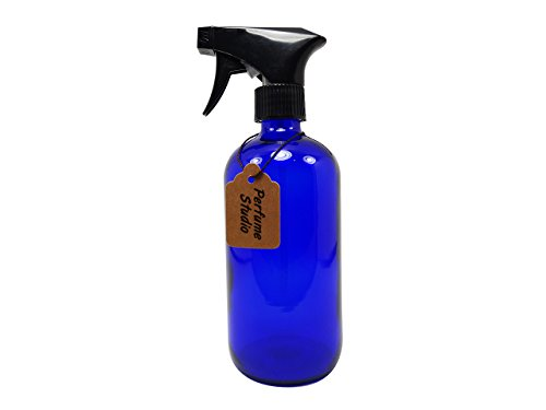 Perfume Studio Professional Grade Blue Cobalt Glass Boston Round Bottle with Trigger Sprayer - Perfect for Essential Oils, Cleaners, Aromatherapy, Treatments, Cooking Oil (8 OZ, BLUE COBALT GLASS)