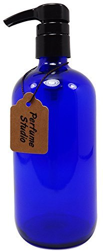 Perfume Studio Professional Grade Blue Cobalt Glass Boston Round Bottle with Top Quality Dispensing Pump - Perfect for Lotions, Soaps, Massage and Skin Oils, Hair Treatments and More (16 OZ, COBALT BLUE)