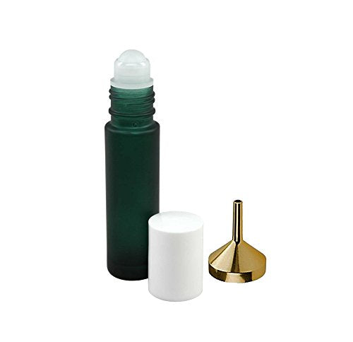 Perfume Studio Set of Three 10ml Green Roll On Bottles and 1 Metal Perfume Oil Funnel to Help You Refill the Roller Bottles