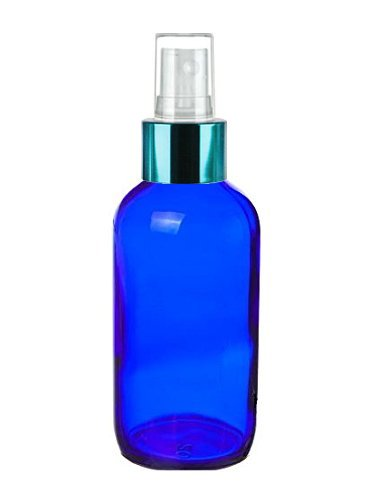 Perfume Studio 4 oz Blue Cobalt Spray Bottles with Turquoise Sprayer Top (4, Turquoise Top)