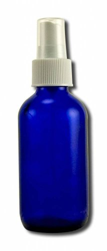 Cobalt Blue Boston Round Glass Bottle 4 Oz with Black Atomizer for Essential Oil Formulas, 3 Pieces