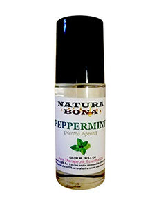 Natura Bona Peppermint Roll-on Essential Oil. Therapeutic Grade Essential Oil in a 30 ml (1 oz) Glass Roller Bottle. (100% Pure Peppermint Oil)