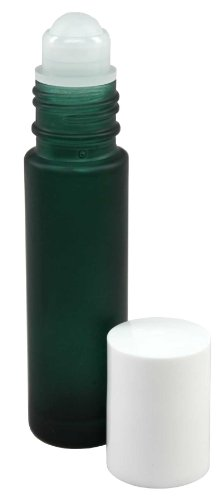 Perfume Studio® 10ml (1/3 fl oz) Green Frosted Glass Essential Oil Roll-On Bottles (White Caps)