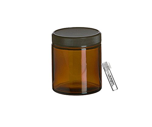 Perfume Studio Straight Sided 4oz Amber Glass Jar with Black BPA Free Ribbed Cap for Cosmetics Solutions; Plus a Pure Perfume Sample Vial