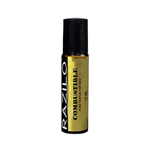 Combustible Pure Parfum Oil for Men by Razilo; 10 mL Amber Glass Roller Bottle.