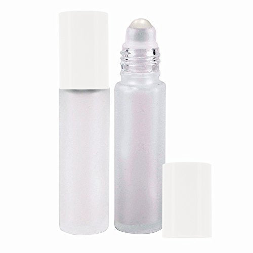 Perfume Studio Frosted Glass Roller Bottle for Essential Oils - 10ml White Cap; 2 Piece Set (Plastic Ball, White Frost)