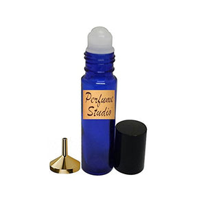 Roll On Bottle Refillable For Perfume Oils, Essential Oils and Aromatherapy by Perfume Studio0153, True Blue Cobalt Glass Bottles with a Gold Aluminum Small Fragrance Funnel (6)
