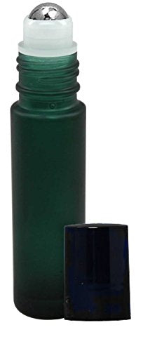 Perfume Studio 10ml Frosted Green Glass Roller Bottle for Essential Oils with Metal Ball (10 Roll On Bottles, 1/3 oz)