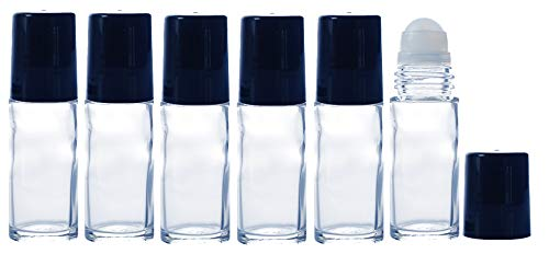 1oz Glass Roller Bottles for Essential Oils, Perfume, and Liquid Deodorant; 30ml Roll on Glass Bottle with a complimentary 2ml Pure Parfum Sample Glass Vial. (6)