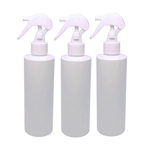 Natura Bona 8oz Trigger Sprayer Bottle. HDPE BPA Free Bottle Ideal For Cleaning Solutions, Massage Oils, DIY Repellents, Suntan Oil, Gardening, Cleaners (3-Pack) (WHITE TRIGGER SPRAYER)