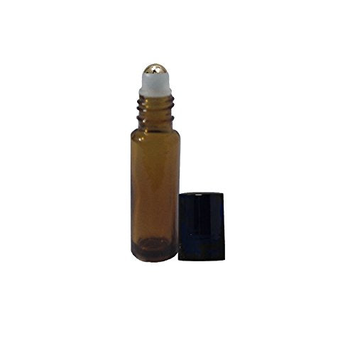 Perfume Studio Amber Roll On Set for Essential/Perfume Oils with Metal Ball Applicator - 10 ml (10, Amber Glass Metal Ball)