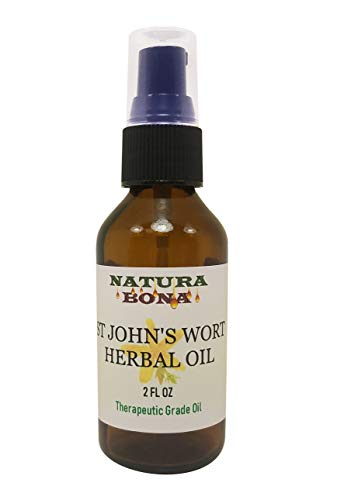 St Johns Wort Herbal Oil 20% Dry Herb Infused in Organic Extra Virgin Organic Olive Oil for skin health, muscular and joint wellness support; Therapeutic Grade (Amber Glass Treatment Pump, 2oz)