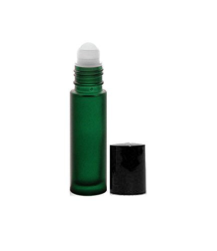 Perfume Studio 1/3 oz Roller Bottles for Essential Oils - Green Frosted Glass (5 Roller Bottles with Black Caps; Plastic Roller Ball)