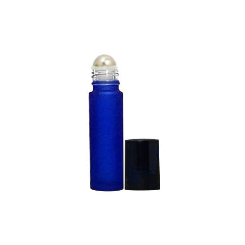 Perfume Studio Blue Roll On Glass Bottles 10 ml (5, Frosted Cobalt Glass Metal Ball, Black Cap)
