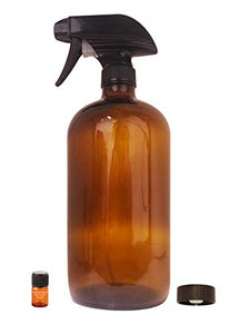 Large Amber Glass Spray Bottle with Storage Cap, Mist & Stream Sprayer & Perfume Studio Fragrance Sample; Ideal for Essential Oils, Cleaning Products, and other Sprayable Liquids; (32oz Sprayer)