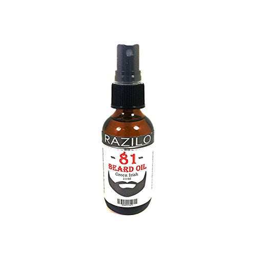 RAZILO 81 Green Irish Beard Oil Spray Bottle for Men. Premium Leave-in Beard & Mustache Conditioner. Enjoy a Clean Scent Oil Blend that Promotes Healthy Hair Growth & Softens Your Skin; 2.1 oz Spray