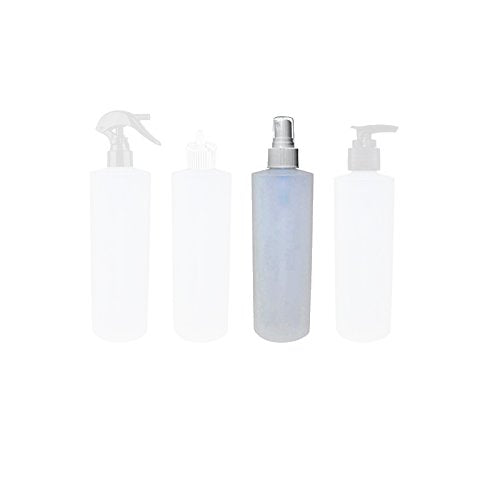 Perfume Studio 4 Oz Natural Plastic Empty Bottles - HDPE 24/410 Neck Size with Choice of Fine Mist Spray, Flip Top Dispensing Cap, Pump, and Trigger Sprayer (8 Bottles) (White FINE Mist Sprayer)