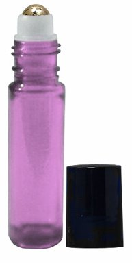Perfume Studio 10ml Glass Metal Roll Ons with Metal Ball Applicators, Translucent Purple Glass, Black Cap (12)