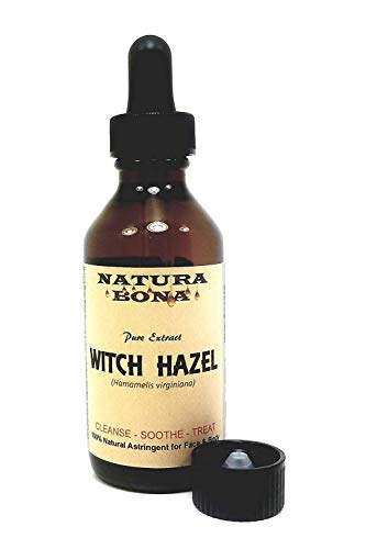 Natura Bona 100% Pure-Natural Witch Hazel Extract; 2 Ounce Amber Glass Bottle with Calibrated Glass Pipette.