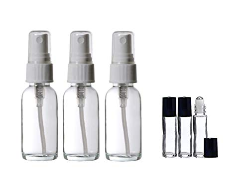Perfume Studio Fragrance Making 6-Piece Set; 3, 1oz Empty Glass Sprayer Bottles and 3, 7ml Glass Roll-on Bottle. (Perfume Making Kits, 6-Piece Set)
