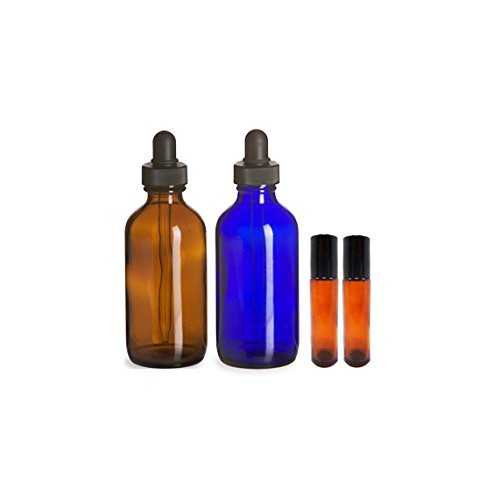 Perfume Studio Essential Oil Supply Set - Two 4oz Glass Dropper Bottles (1 Amber, 1 Blue Cobalt), and 2 metal ball 10ml roller bottles