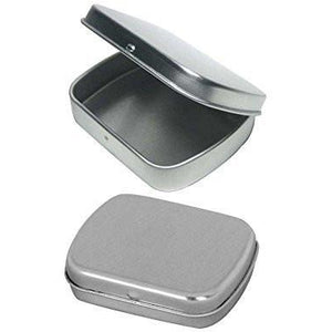 Cafe Cubano? Small Empty Hinged Tin Box Containers With Solid Hinged Top. Use...