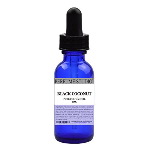 Black Coconut Perfume Oil Premium Grade. Use for Perfume Making, Personal Body Oil, Soap & Candle Making and Incense; 1oz Cobalt Glass Dropper Bottle. Pure Undiluted, Alcohol Free Oil