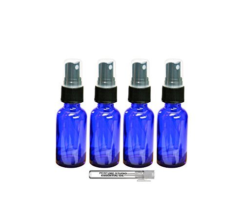 Perfume Studio Set of 4, 1 oz Cobalt Blue Glass Spray Bottles and 1 Perfume Studio Top Seller Sample Body Oil Vial. Use Spray Bottles for Essential Oils, Fragrances, Room Sprays, and More.