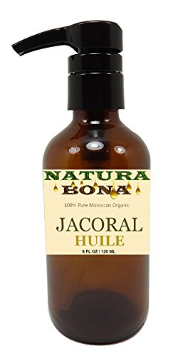 Jacoral Huile 100% Pure Skin/Face Moisturizer & Hair Revitalizing Organic Oil Blend in a Large 8 Oz Glass Pump (Organic Jojoba, Argan, Fractionated Coconut, Olive, Rosemary, Avocado and Lavender Oil)