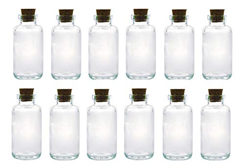 Apothecary Essential Oil Glass Bottle with Cork; 6oz Liquid Capacity. Clear, Thick Glass Essential Oil Bottle with Complimentary Perfume Oil Sample (12, Apothecary Corked Glass Bottle)