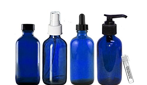 Perfume Studio Essential Oil Supplies: 4oz Blue Cobalt Glass Bottles, Pack of 4 Boston Round Glass Bottles; Pump, Dropper, Spray, and Cap. Complimentary Essential Oil/Perfume Sample (Cobalt Glass)