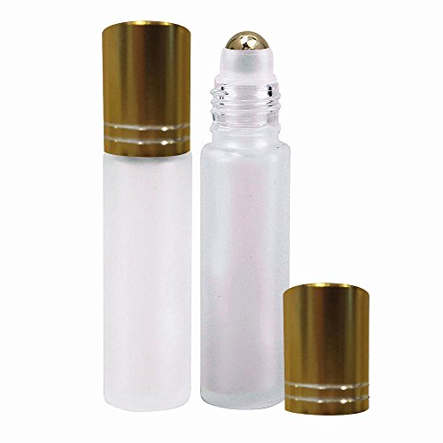 Perfume Studio® 10ml Frost Glass Roller Bottles with Metal Ball and Gold Cap for Essential Oils; 2 Piece Set (Metal Ball, White Frost)