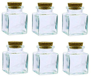 Square Glass Jar Bottles with Corks; 2.75 oz Capacity with Complimentary Pure Parfum Sample Included (6, Corked Square Jar)