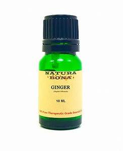 Ginger Essential Oil - 100% Pure Organic Therapeutic Grade Zingiber Officinalis Oil in a 10ml UV Protected Green Glass Euro Dropper Bottle. (Ginger)