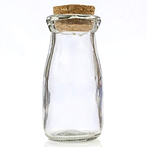 FASHIONCRAFT Perfectly Plain Collection Vintage Glass Milk Bottle with Round Cork top