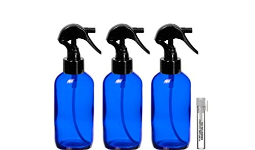 Perfume Studio TRIGGER Spray Bottles 4 oz and a Perfume Studio Top Seller Body Oil Sample Vial (3, 4oz Blue Cobalt Bottles, 1 Perfume Oil Sample)