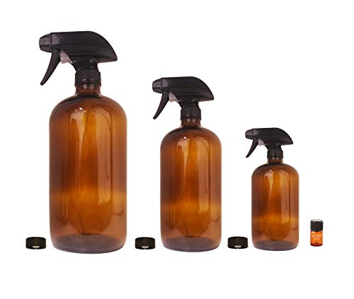 Amber Glass Sprayer Bottles Set with Storage Cap, Mist & Stream Sprayer & Perfume Studio Fragrance Sample; Ideal for Essential Oils, Cleaning Products, and other Sprayable Liquids; (Sprayer 3pc Set)