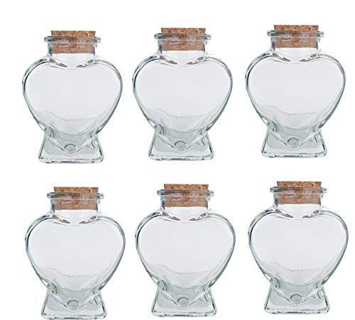 Heart Shaped Glass Bottles with Cork; 3oz, with a complimentary Perfume Sample (6, Corked Heart Shape Jar)