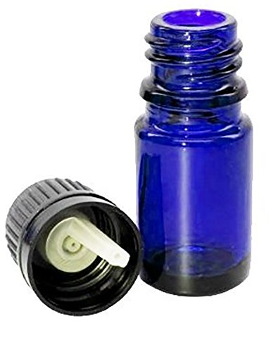 15ml Euro Dropper Bottle Cobalt Blue Glass Boston Round Tamper Evident Cap Bottles for Aromatherapy Essential Oils, Lot of 6 Empty Euro Dropper Bottles (15ml Euro Dropper Bottle)