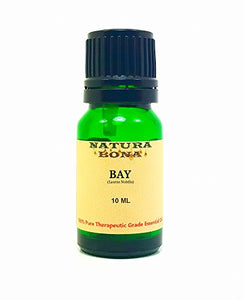 Bay Essential Oil - 100% Pure Organic Premium Therapeutic Grade Oil in a 10ml UV Protected Green Glass Euro Dropper Bottle. (Bay)