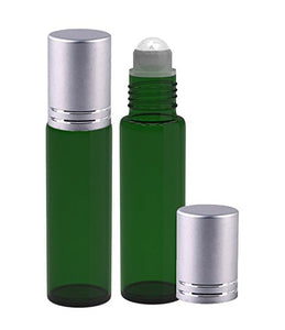 Perfume Studio® Green Glass 10ml Roller Bottles with Glass Ball and Silver Cap for Essential Oils; 2 Piece Set (Glass Ball, Green)