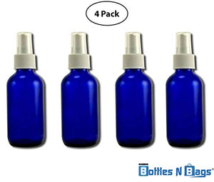 Cobalt Blue Glass Bottle 4 Oz with Fine Sprayer Atomizer. (Set of 4 Cobalt Bottles)