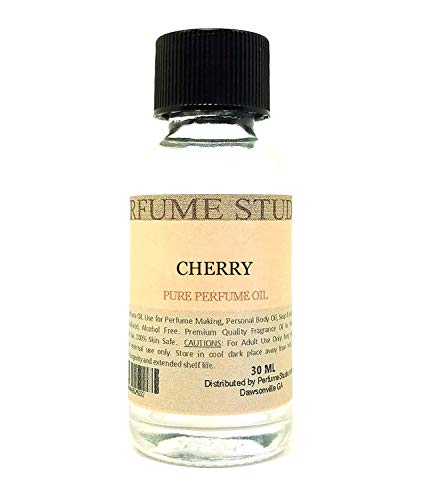 Pure Perfume Oil for Perfume Making, Personal Body Oil, Soap, Candle Making & Incense; Splash-On Clear Glass Bottle. Premium Quality Undiluted & Alcohol Free (1oz, Cherry)
