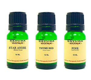 Essential Oil Sets 100% Pure & Therapeutic Grade for Diffusers Body Massage Skin Aromatherapy; 3-Pack EO Kit, 10ml each Euro Glass Droppers (Star Anise, Thyme Red, Pine)