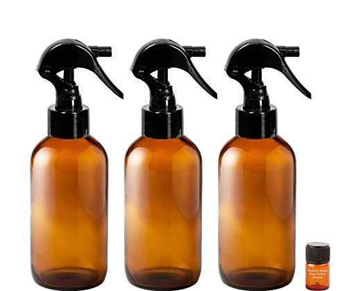 TRIGGER Sprayer Bottles - 4 oz Bottle and a Perfume Studio Top Seller Body Oil Sample Vial (3, 4 oz Amber Glass Bottles, 1 Perfume Oil Sample)
