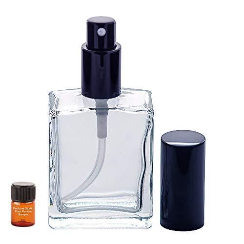 Perfume Studio Top Quality Fragrance & Essential Oil Atomizer Empty Refillable Glass Bottle with Black Sprayer with a Free 2ml Pure Perfume Oil Sample (Clear Glass 2 Piece, 2oz)