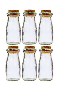 Small Mini Glass Bottles with Cork top stoppers; 100ml. Complimentary Pure Parfum Sample Included (6, Cork Glass Bottles)