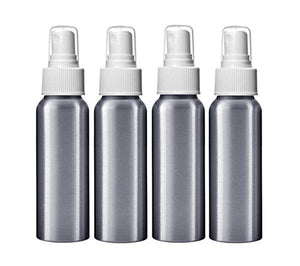 Aluminum Spray Bottle 2oz for Essential Oils; 80ml Capacity, 4-Pack with Different Choice of Tops & Free Perfume Studio Sample Fragrance. (While Fine Mist Sprayer)