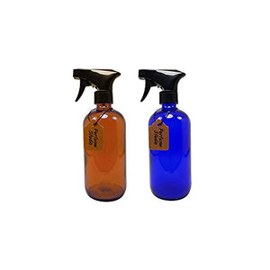 Perfume Studio 16oz Glass Spray Bottle - Set of 2 Professional Quality Amber/Cobalt Glass Boston Round Bottle with Trigger Sprayer
